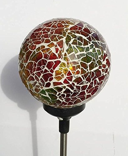 Colorful Ball Solar Lights (#Whitem005Y), Solar Power Multi-color Color Changing LED Mosaic Crackle Glass Ball Decorative Garden Yard Light Stake Lamp