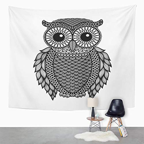 Peyqigo Wall Hanging Tapestry Zentangle Stylized Black Owl White Abstract Drawn Floral Hand Polyester Living Room Dorm Decoration Picnic Mat Beach Towel Home Decor 60 X 80 Inches