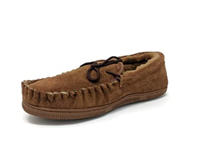 Men's Genuine Sheepskin Moccasin Slippers Loafers Shoes (Brown XX-Large)