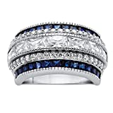 Platinum over Sterling Silver Emerald Cut Cubic Zirconia and Simulated Blue Sapphire Ring