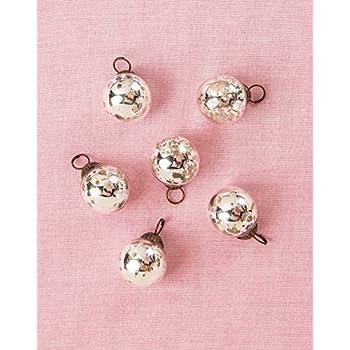 Luna Bazaar Mini Mercury Glass Ornaments (Ava Classic Ball Design, 1 - 1.5 Inches, Silver, Set of 6) - Vintage-Style Mercury Glass Christmas Ornaments