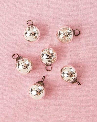 Luna Bazaar Mini Mercury Glass Ornaments (Ava Classic Ball Design, 1 - 1.5 Inches, Silver, Set of 6) - Vintage-Style Mer ()