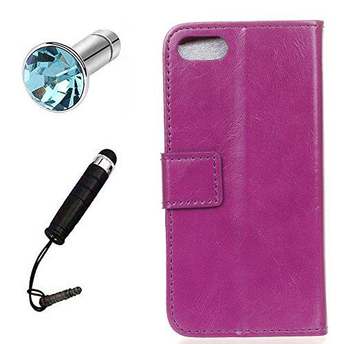 Lusee® PU Caso de cuero sintético Funda para XiaoMI MI 6 Plus 5.7 Pulgada Cubierta con funda de silicona botón caballo Loco patrón negro caballo Loco patrón púrpura