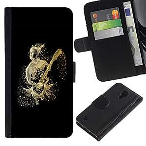 EuroCase - Samsung Galaxy S4 IV I9500 - Abstract Guitar Player - Cuero PU Delgado caso cubierta Shell Armor Funda Case Cover