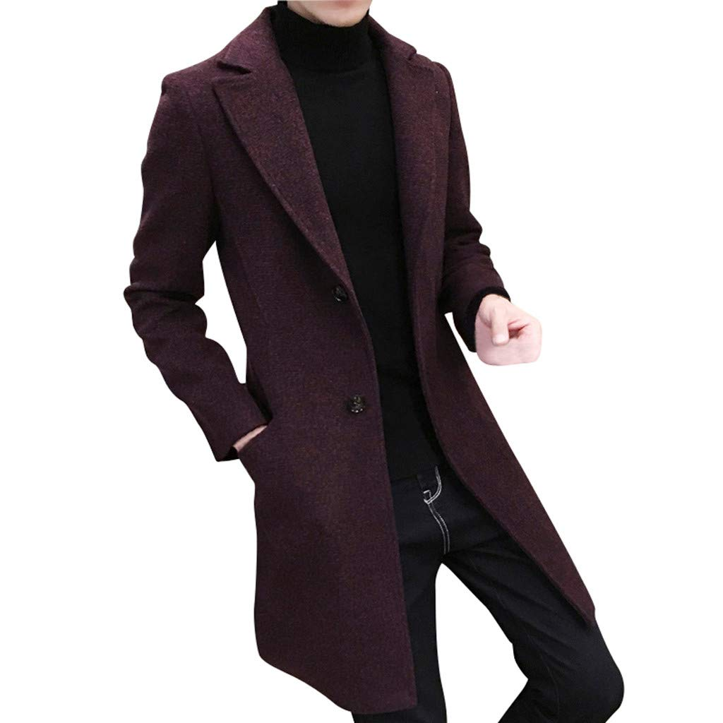 WUAI-Men Trench Coat Winter Long Jacket Double Breasted Overcoat Business Suits Plus Size(Red,US Size L = Tag XL) by WUAI-Men