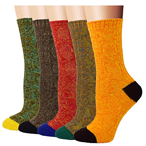5 Pairs Women Winter Warm Vintage Style Thick Knit Wool Cozy Crew Socks