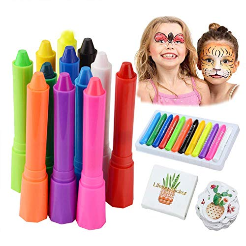 Face Paint Crayon,12 Color Face Painting Kits Body Paint Sticks for Kid Adult,Washable Non Toxic Child Toddler Makeup Sets for Halloween Costumes Parties Ideal Reward for Girl Boy(with DIY Sticker)