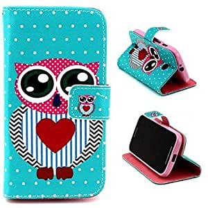 Mr Owl Pattern PU Leather Full Body Case with Stand and Money Holder for Motorola Moto E