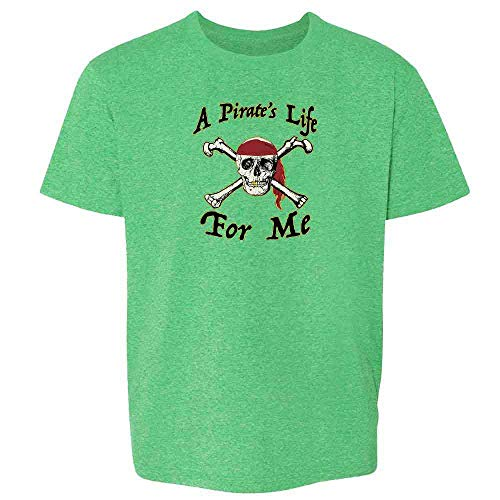 Pop Threads A Pirate's Life for Me Halloween Costume Skull Heather Irish Green 3T Toddler Kids T-Shirt