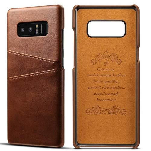 Galaxy Note 8 Cow Leather Case,Superstart Luxury Classical Soft Comfortable Slim Credit Card Slot Back Full Body Leather Wallet Case for Samsung Galaxy Note 8--Brown
