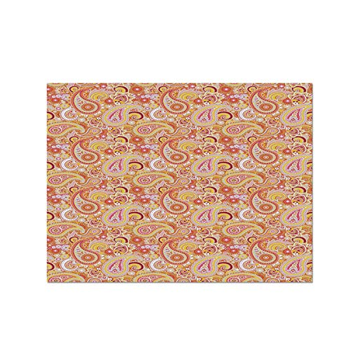 (C COABALLA Orange Heat Resistant Table Mat,Asian Design Elements Traditional Paisley Floral Pattern Swirls Leaves Ethnic Motif Decorative for Dining,15.7