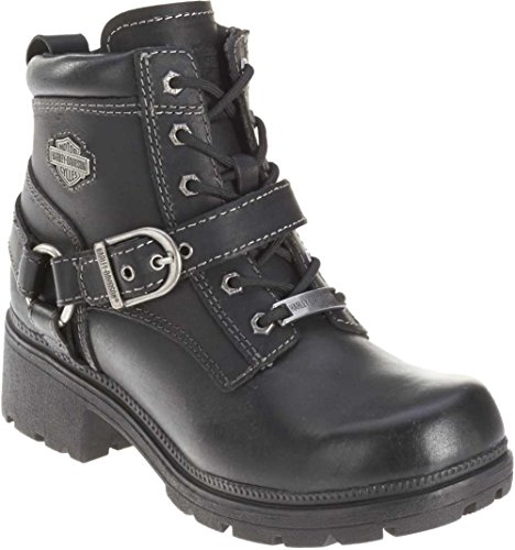 Harley-Davidson Women's Tegan Ankle Boot ,Black,11 M - Up Biker Lace Boots Leather