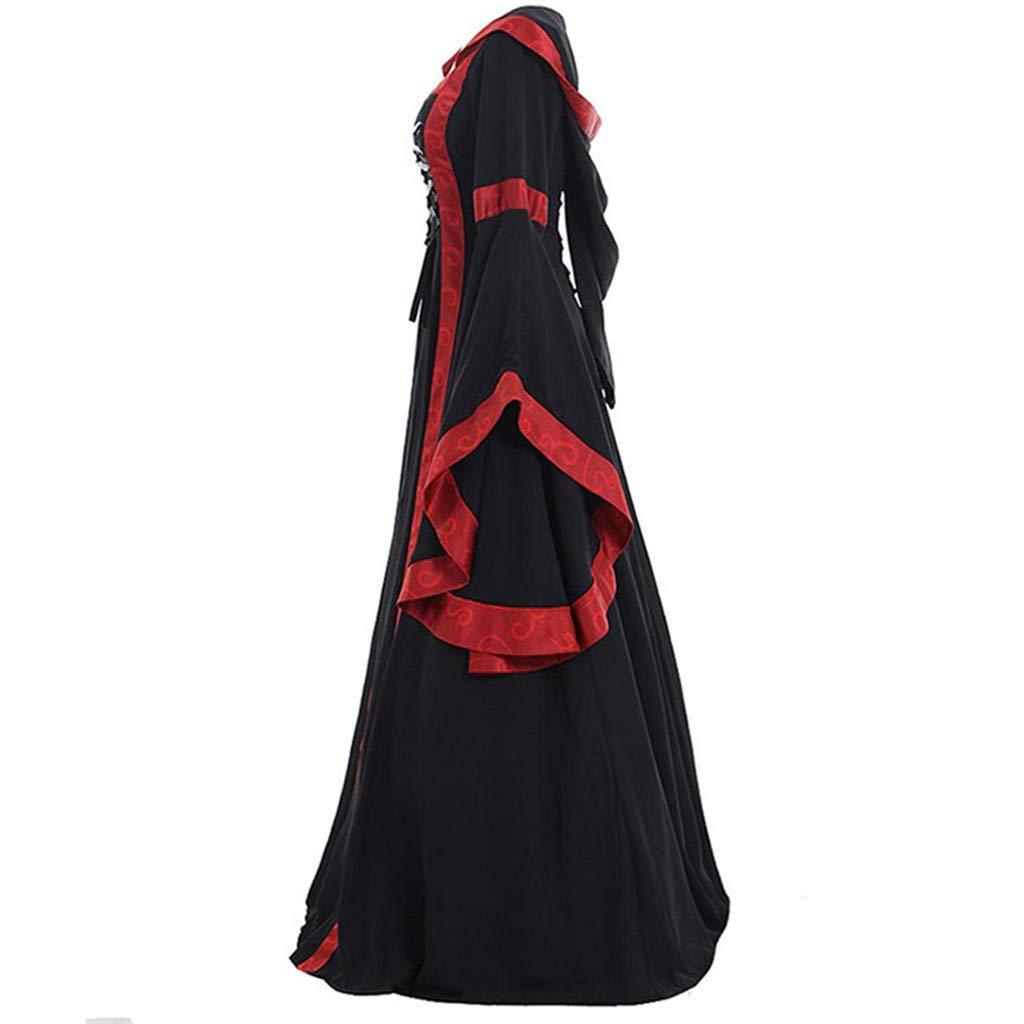 MoonHomen Womens Medieval Renaissance Dress Lace Retro Floor Length Cosplay Costume Vintage Dress Long Dress