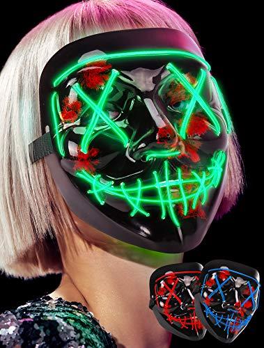 Lizber Led Mask Halloween Mask, Light Up Mask Neon El Wire, 3 Modes Scary Mask
