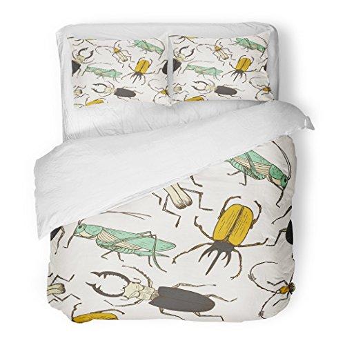 (SanChic Duvet Cover Set Bug Pattern Funny Grasshopper Stag Beetle Childish Decorative Bedding Set with Pillow Case Twin Size)