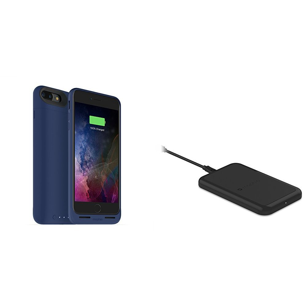 mophie juice pack wireless  - Charge Force Wireless Power - Wireless Charging Protective Battery Pack Case for iPhone 7 Plus – Blue plus mophie Charge Force Wireless Charging Base bundle