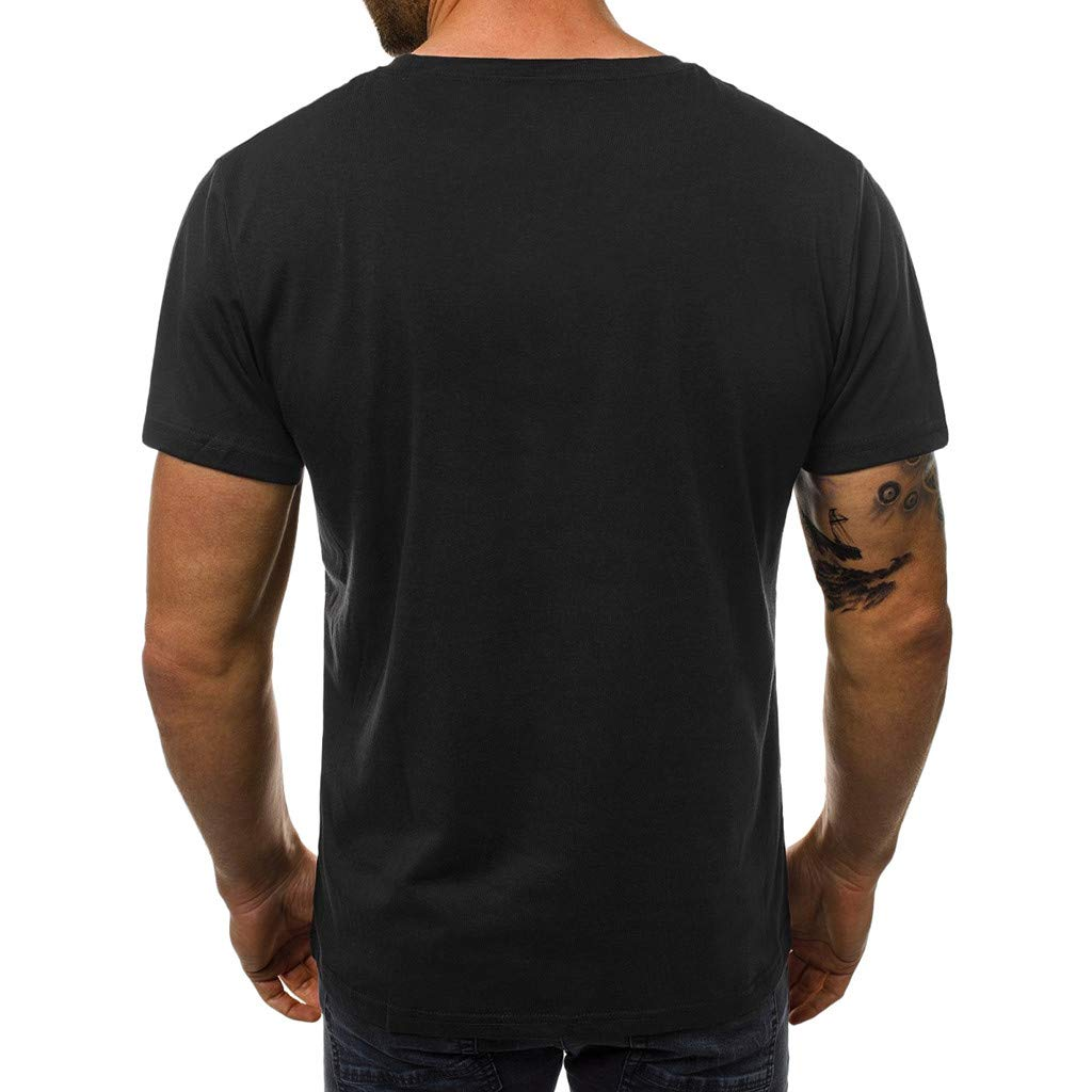 Corriee Mens Shirts Casual Slim Fit Letter Printed Short Sleeve T Shirt Blouses Mens Summer Tunic Tops