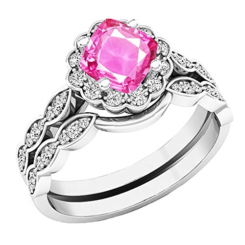 Pink Sapphire Set (14K White Gold 5.5 MM Cushion Lab Created Pink Sapphire & Round Diamond Ladies Ring Set (Size 6))