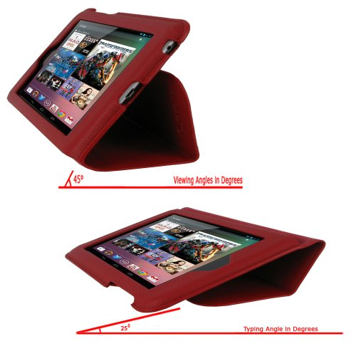 rooCASE Ultra-Slim (Red) Vegan Leather Folio Case for Google Nexus 7 Tablet (Built-in sleep / wake feature) Photo #10