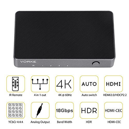 VORKE Mini Auto Switching HDMI Switch Solid Metal 4x1 4K 60Hz with HDR 18Gbps HDMI 2.0 HDCP 2.2 HDR 3D with IR Remote Audio Output (HD41)
