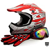 HHH DOT Youth & Kids Helmet for Dirtbike ATV Motocross MX Offroad Motorcyle Street bike Red Net, Red Flame + WITH FREE GLOVES AND GOOGLES (Large, Red Flame)