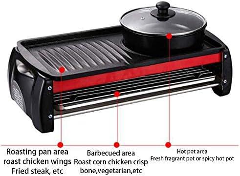 YMN Double électroménager Torréfaction Plateau Mini Hot Pot Barbecue Smokeless intégré antiadhésive pour Barbecue intérieur Famille Gathering Party