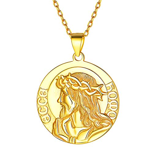 (18K Gold Plated Jesus Pendant Necklace Antiqued Round Disc Coin Necklace Religious Christian Medal Medallion Jewelry for Women Men)