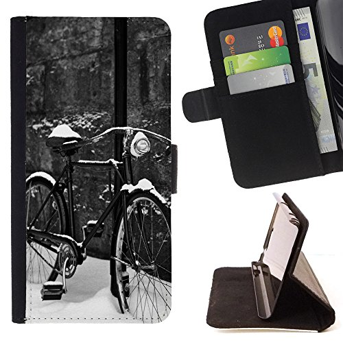 God Garden - FOR Apple Iphone 5C - Bicycle In Snow - Glitter Teal Purple Sparkling Watercolor Personalized Design Custom Style PU Leather Case Wallet Fli