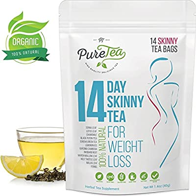 PureTea Skinny Tea, Gentle Diet Tea Detox, Teatox and Appetite Suppressant, Reduce Bloating and Constipation for Weight Loss, Natural Products and Supplements for Women