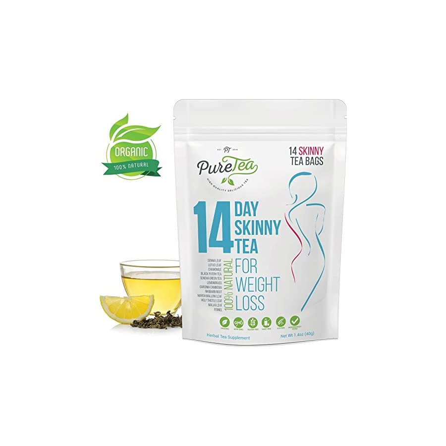 Skinny Tea, Gentle Diet Detox Tea, All Natural Teatox and Appetite Suppressant, Reduce Bloating and Constipation, Release Toxins for Weight Loss, PureTea Body Cleanse for Women and Men