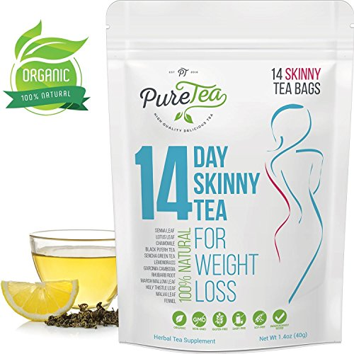 PureTea Skinny Tea, Gentle Diet Detox Tea, Teatox and Appetite Suppressant, Reduce Bloating and Constipation for Weight Loss, 100% Natural Body Cleanse for Women and Men - 14 Tea Bags