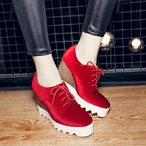 Latasa Femmes Plate-forme À Lacets Oxford Wedges Chaussures Rouge