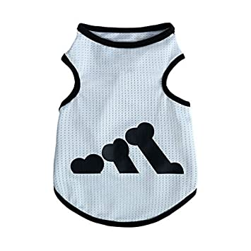 Amazon.com : Shirt DealMux Small Dog respirável Padrão osso roupas para cães Filhote de cachorro Costume Vest Verão : Pet Supplies