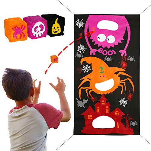 Joy&Leo Halloween Spider Bean Bag Toss Game Sets, Easy to Set Up and Store, with 1 Gift Bag and 3 Different Bean Bags, Halloween Party Games for Toddlers Kids Teens Students and School