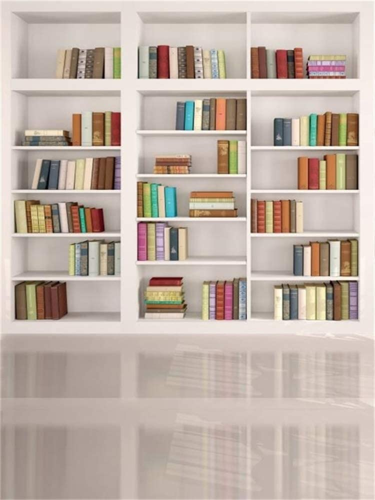 AOFOTO 6x8ft Modern School Bookcase Background Library Books Shelves Study Bookrack White Bookshelf Backdrop with Floor for Photography Students Teachers Portrait Photoshoot Vinyl Photo Studio Props