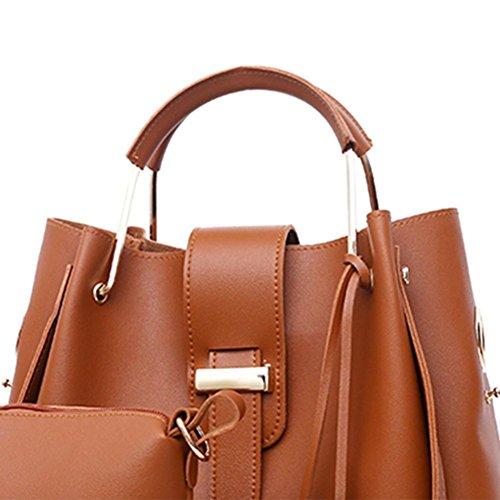 Brown Everpert Bucket Tote Set Composite Crossbody Tassels Light Handbags Shoulder Women 3pcs PU rxpnf0w7r
