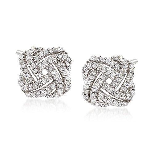 Ross-Simons 0.33 ct. t.w. Diamond Squared Love Knot Stud Earrings in 14kt White Gold
