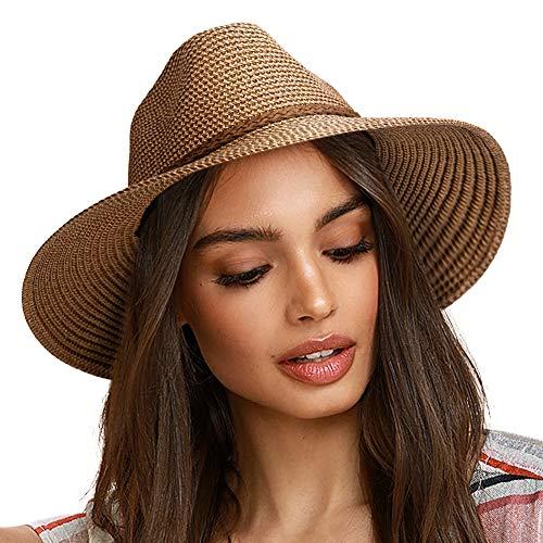 FURTALK Sun Hats for Women Summer Wide Brim UV UPF 50+ Panama Fedora Foldable Packable Straw Beach Hat Coffee Brown