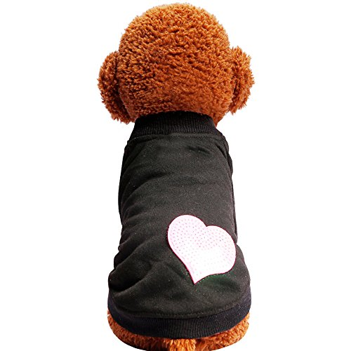WEUIE Big Promotion! Puppy Clothes Spring and Summer Cute Dog Clothes Red Stars Sequins Pet T-Shirt Costumes (S, Black)