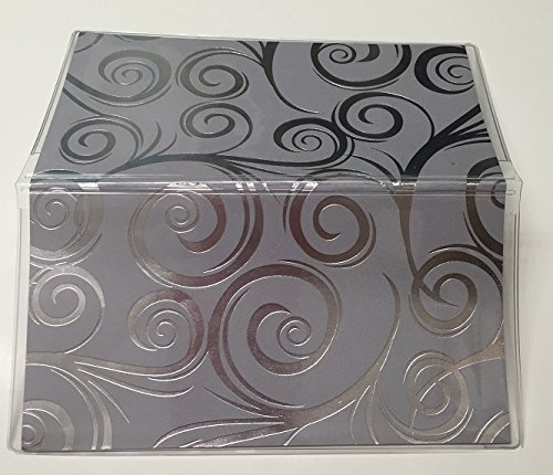 Fancy Swirl Foiled, Black Silver- Vinyl Checkbook cover,Scrapbook style,Duplicate or Single Checks, No wait Ready to Ship