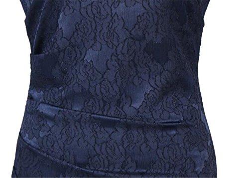 Tubino Cerimonia Pizzo Da Banchetto Aivosen Corta Elegante Vestito Manica Donna Slim Abito Festa Sera Casuale Vestiti Partito Giuntura vwqxt1