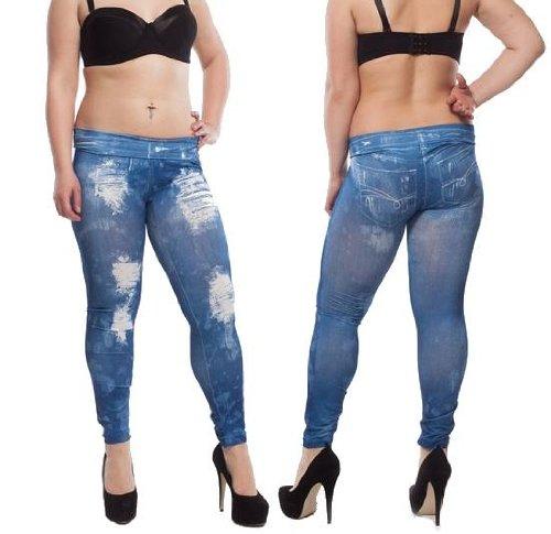 damen stretch leggings umstands hose blau risse treggings jeggings jeans gr e s m wko moda. Black Bedroom Furniture Sets. Home Design Ideas