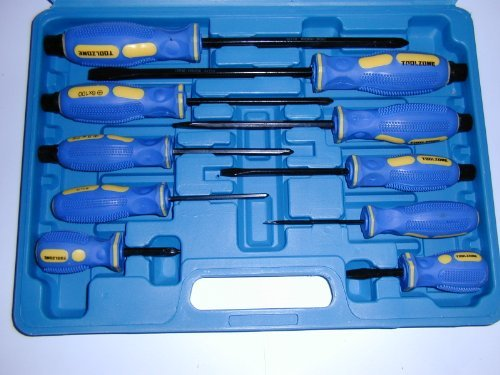 Price comparison product image 10 Piece Screwdriver Set - 6 With Pound-through Hex Ended Handles Tz Sd288