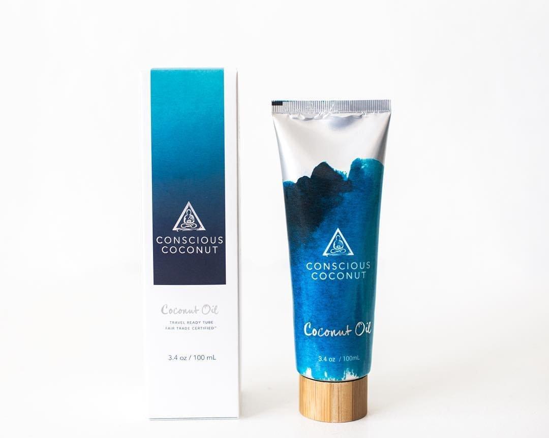 USDA Organic Coconut Oil by Conscious Coconut   Fair Trade, Cold-Pressed, Virgin Coconut Oil, 3.4 ounce Travel Ready Tube   Hair Care, Skin Care, Sun Care, and Soul Care