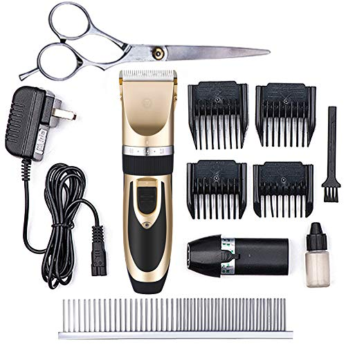 - SunGrow All Inclusive Pet Grooming Kit - Quiet and Comfortable Fur Clipping Set from Contains 4 Comb Attachments, Cleaning Brush and Lubricating Oil - Trims Fur on Dogs, Cats & Other Family Pets