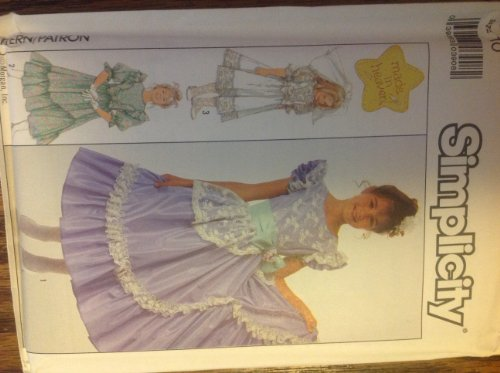 Asymmetric Flounce Dress (Simplicity 8520 Sewing Pattern for Curved Flounced, Princess Bodice, Back Zip Made in Heaven Brand Dress with Asymmetric Flounce or Overlay, Ruffles At Sleeves and Bow Sash with Attached Gathered Skirt for Girls)