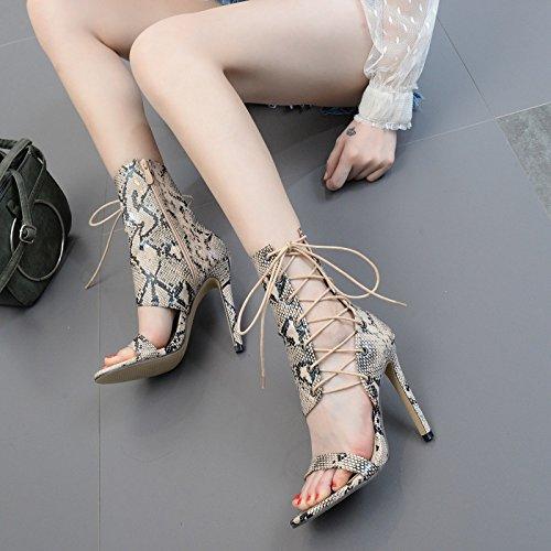 ZHZNVX Die neue high-heel Schuhe Sommer cross Strap snakeskin Kaltstarts fein mit Tau ausgesetzt - zehe stiefel ein Stiefel Weiblich