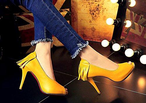 Meijia - Zapatos con tacón mujer amarillo
