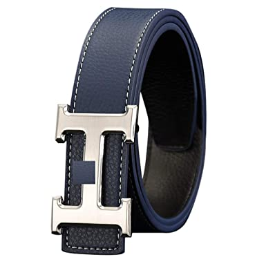 H Style Blue Belt Silver Buckle Casual Belt For Men by Homes