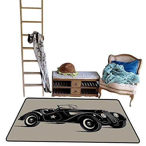 Cars, Door Mats for Inside, Classic Italian Model Nostalgic Car 50s Star Sign Pop Art Hobby Old Fashion Image (W60 x L72 Inch, Brown Black)
